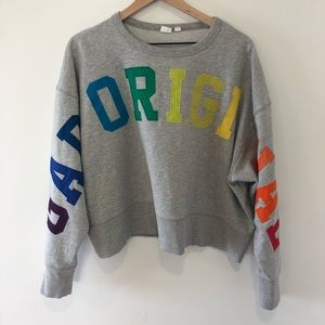 GAP original rainbow spell out cropped sweatshirt